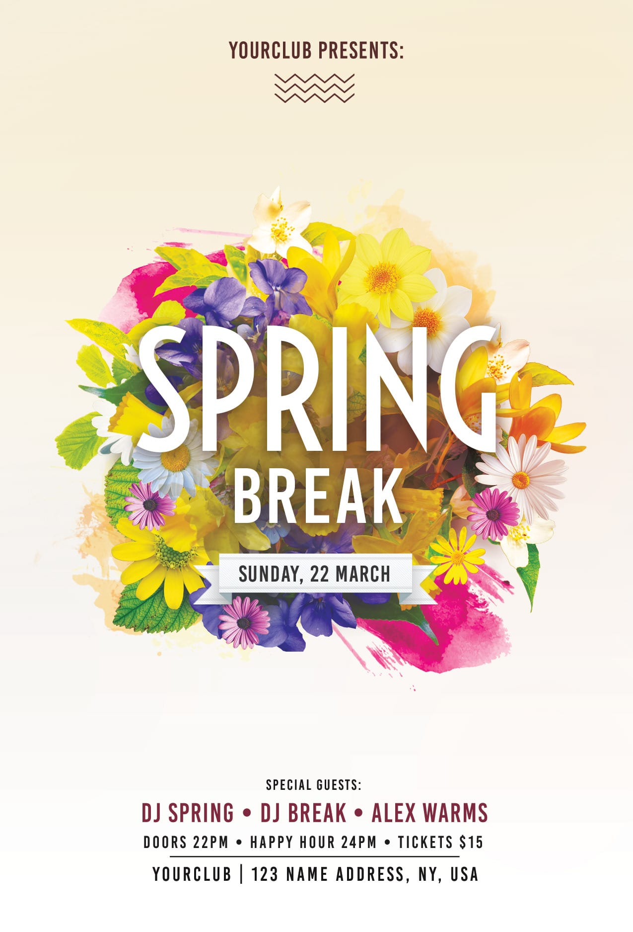 Spring Break Free PSD Flyer Template