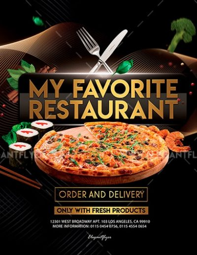 My Favorite Restaurant Free PSD Flyer Template