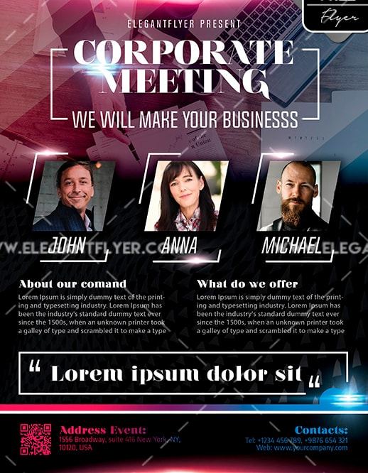 Corporate Meeting Free PSD Flyer Template