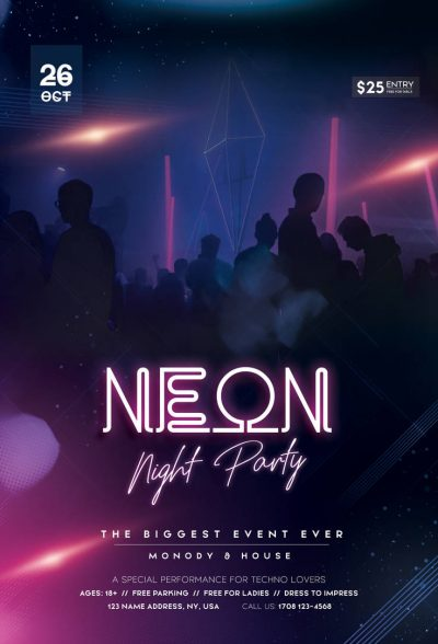 Free Neon Party Night PSD Flyer Template