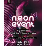 Neon Event Party Free PSD Flyer Template