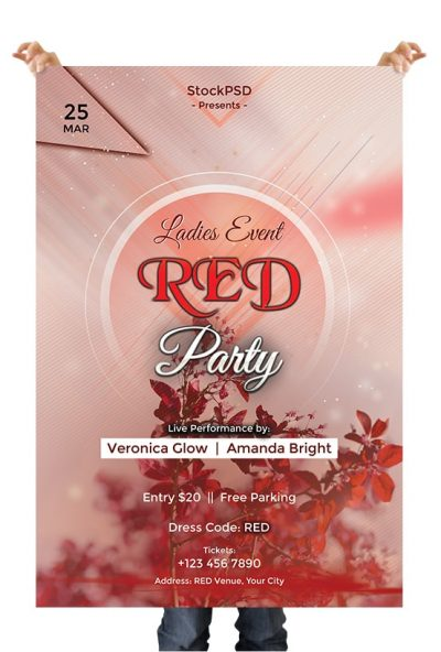 Red Event Party Free PSD Flyer Template