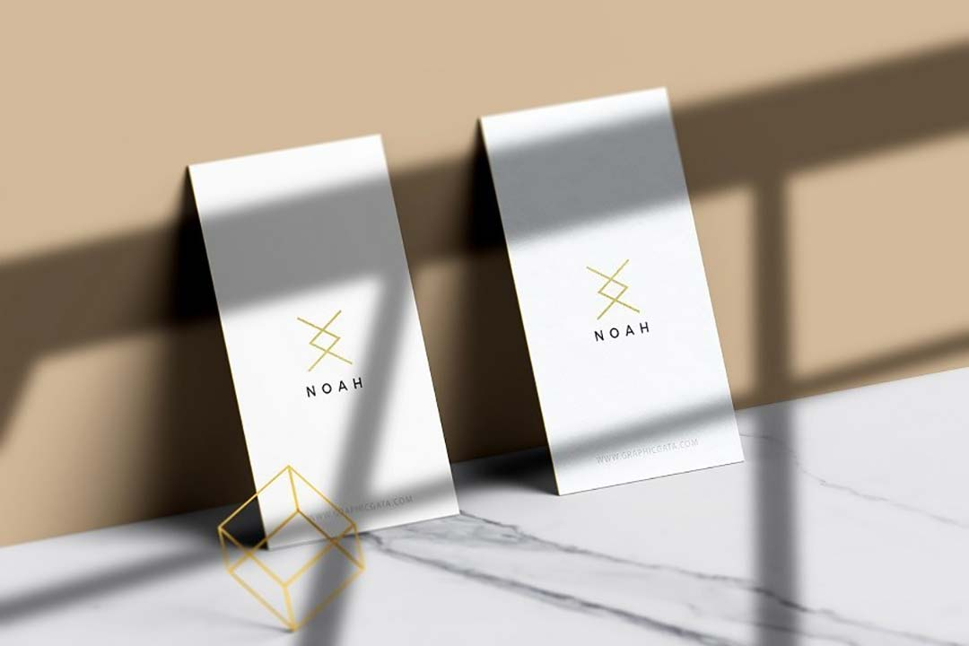 Vertical Business Card Free PSD Mockup