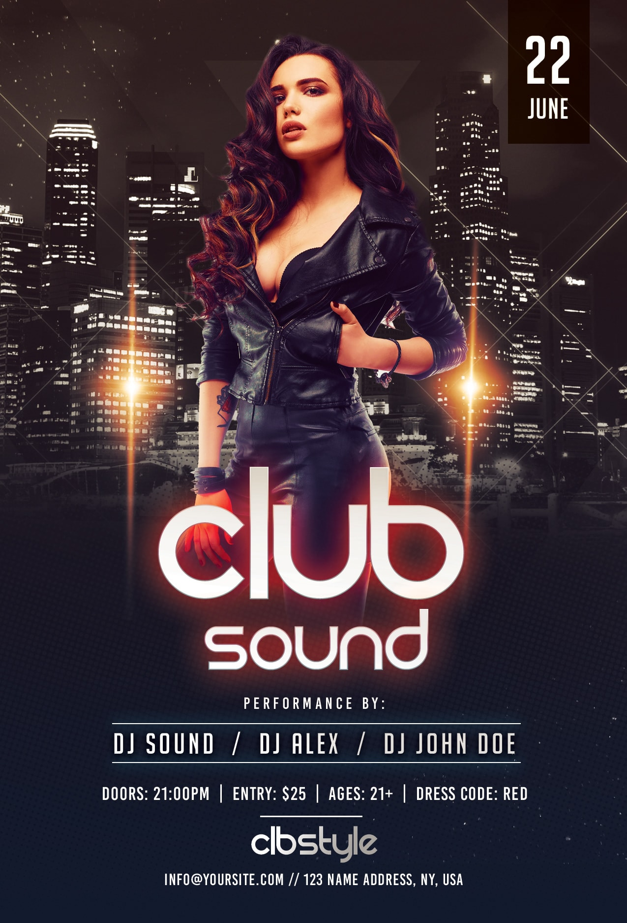 Club Sound Night Free PSD Flyer Template
