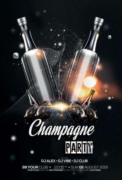 Champagne Party Black & Gold Free PSD Flyer
