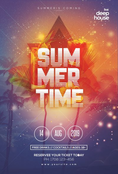 Summer Time Free PSD Flyer Template