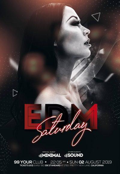 Edm Saturday Free PSD Flyer Template