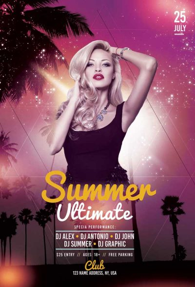 Ultimate Summer Party Free PSD Flyer Template