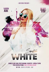 White Sensation Party Free PSD Flyer Template