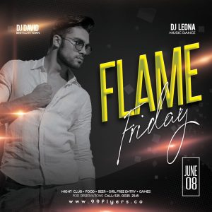 Flame Friday Instagram Free PSD Template