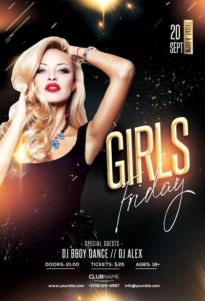 Friday Girls Free PSD Flyer Template