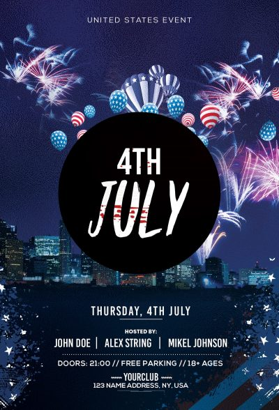 4th July Free PSD Flyer Template