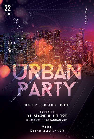 Urban Party Mix Free PSD Flyer Template