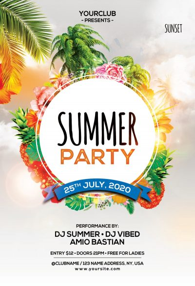 The Summer Party #2 Free PSD Flyer Template