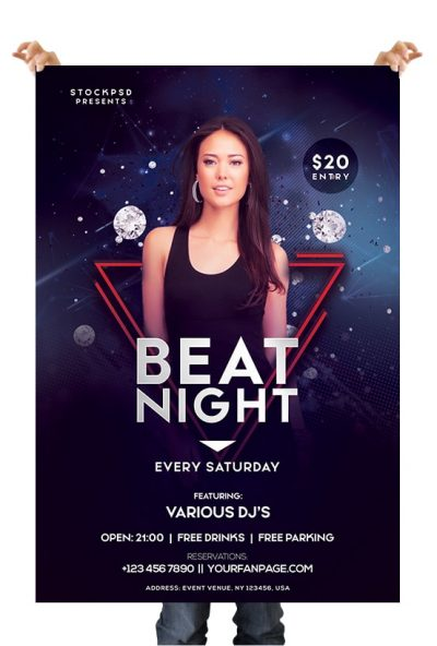 Beat Night Free PSD Flyer Template