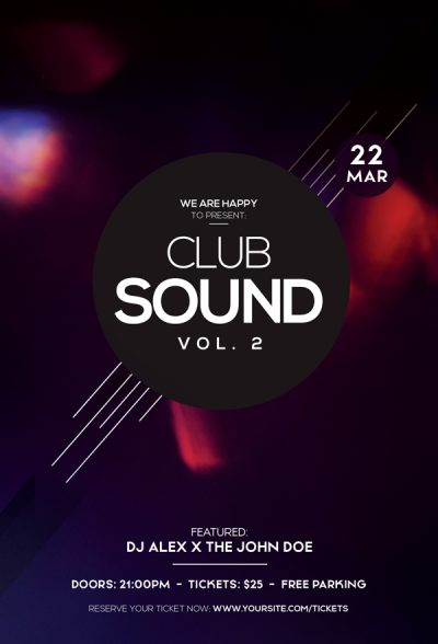 Club Sound Party Free PSD Flyer Template