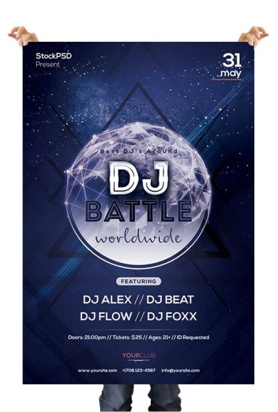 DJ Battle Free PSD Flyer Template