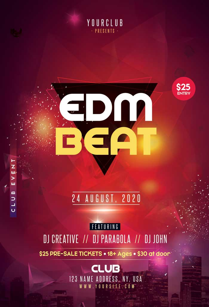EDM Beat Free PSD Flyer Template