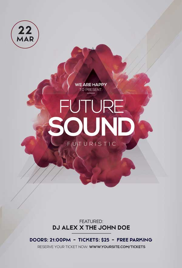 Future Sound Electro Party Free PSD Flyer Template