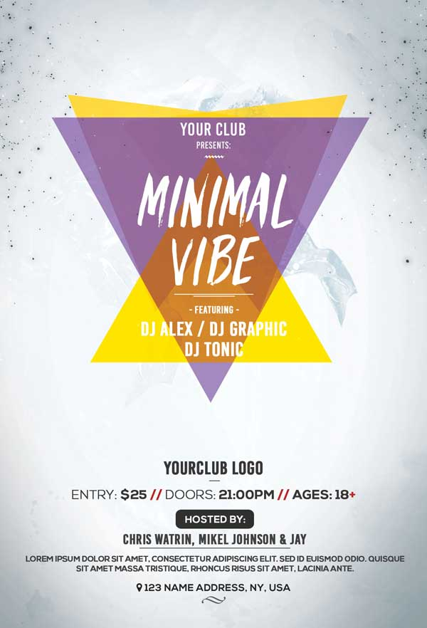 Minimal Vibes Party Free PSD Flyer Template