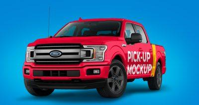 Pickup Truck Free PSD Mockup