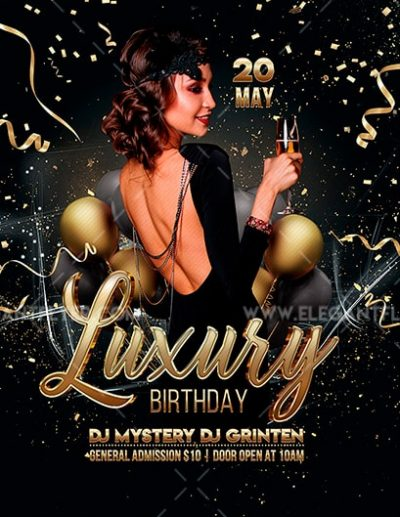 Luxury Birthday Free PSD Flyer Template