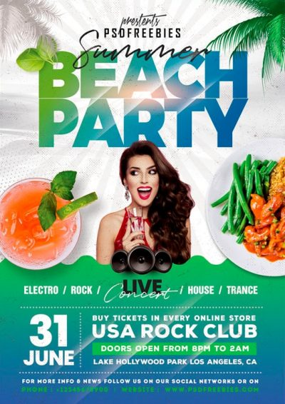 Summer Beach Party #2 Free PSD Flyer Template