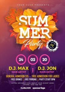 Summer Season Party Free PSD Flyer Template