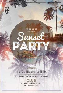 Sunset Summer Party Free PSD Flyer Template