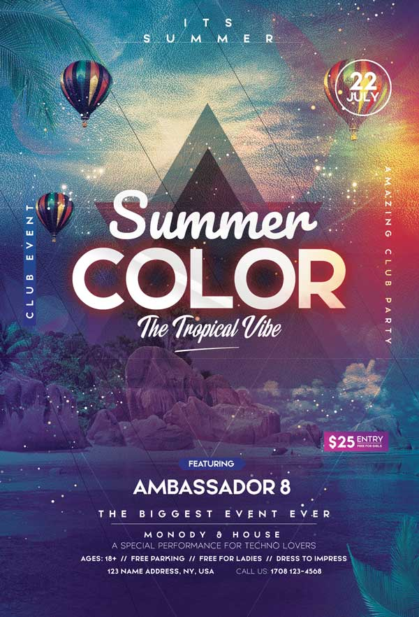 Tropical Vibe Summer Free PSD Flyer Template