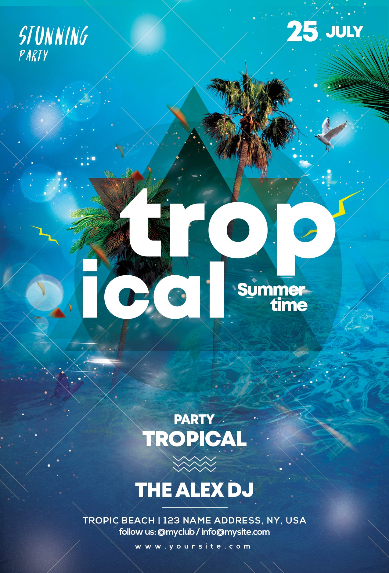 Tropical Summer Party #2 Free PSD Flyer Template