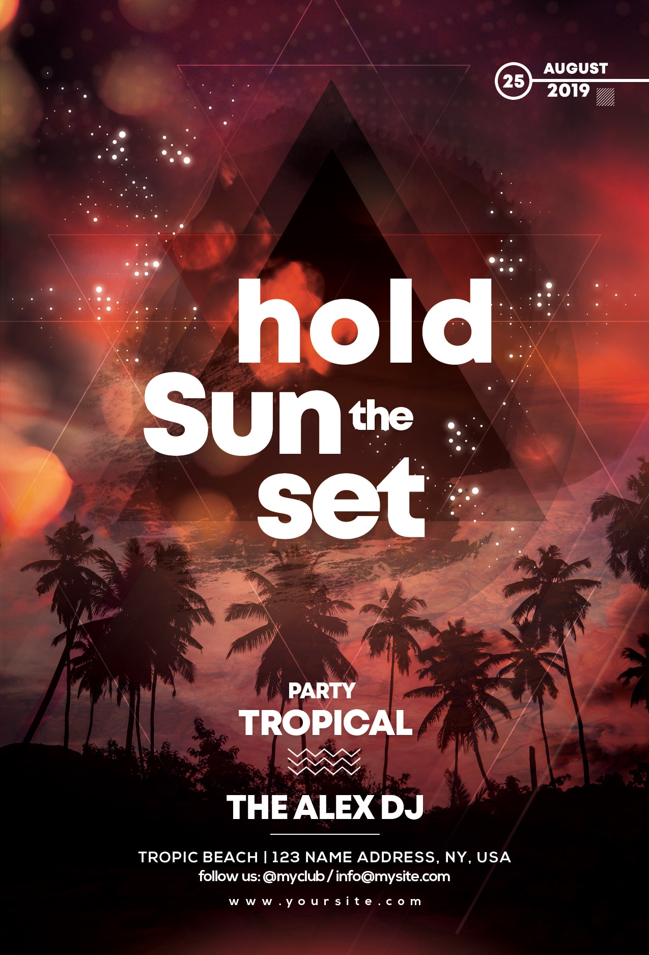 Hold Sunset Party Free PSD Flyer Template