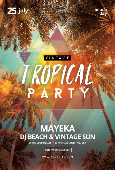 Vintage Tropical Party Free PSD Flyer Template