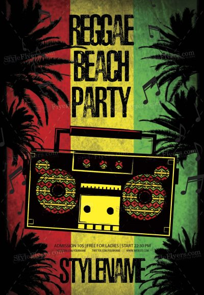 Reggae Beach Party Free PSD Flyer Template