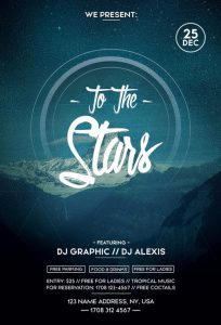 To The Stars Electro Dance Free PSD Flyer Template