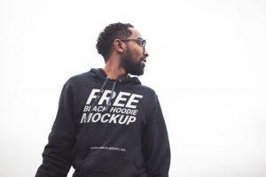 Black Hoodie For Men Free PSD Mockup