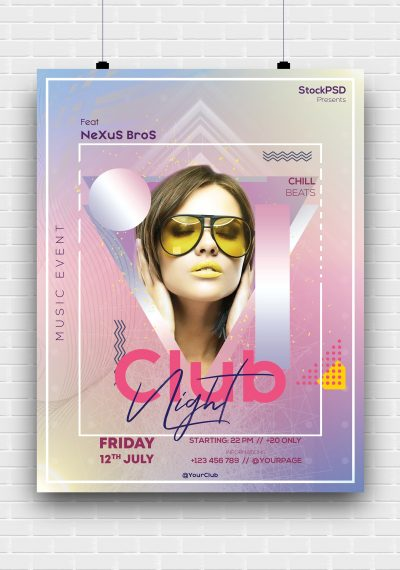 Club Night Event Free PSD Poster Template