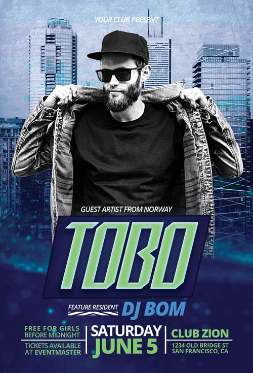 Club DJ Artist Free PSD Flyer Template