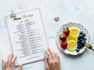 A4 Restaurant Flyer or Menu Free PSD Mockup
