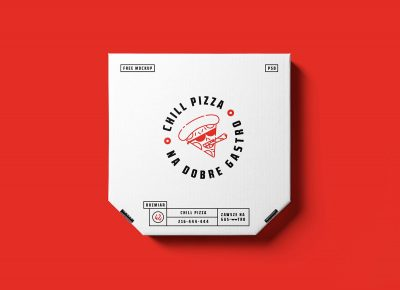 Pizza Box Packaging Free PSD Mockup