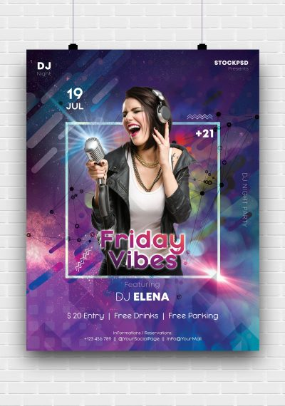 Friday Vibes Free PSD Poster Template