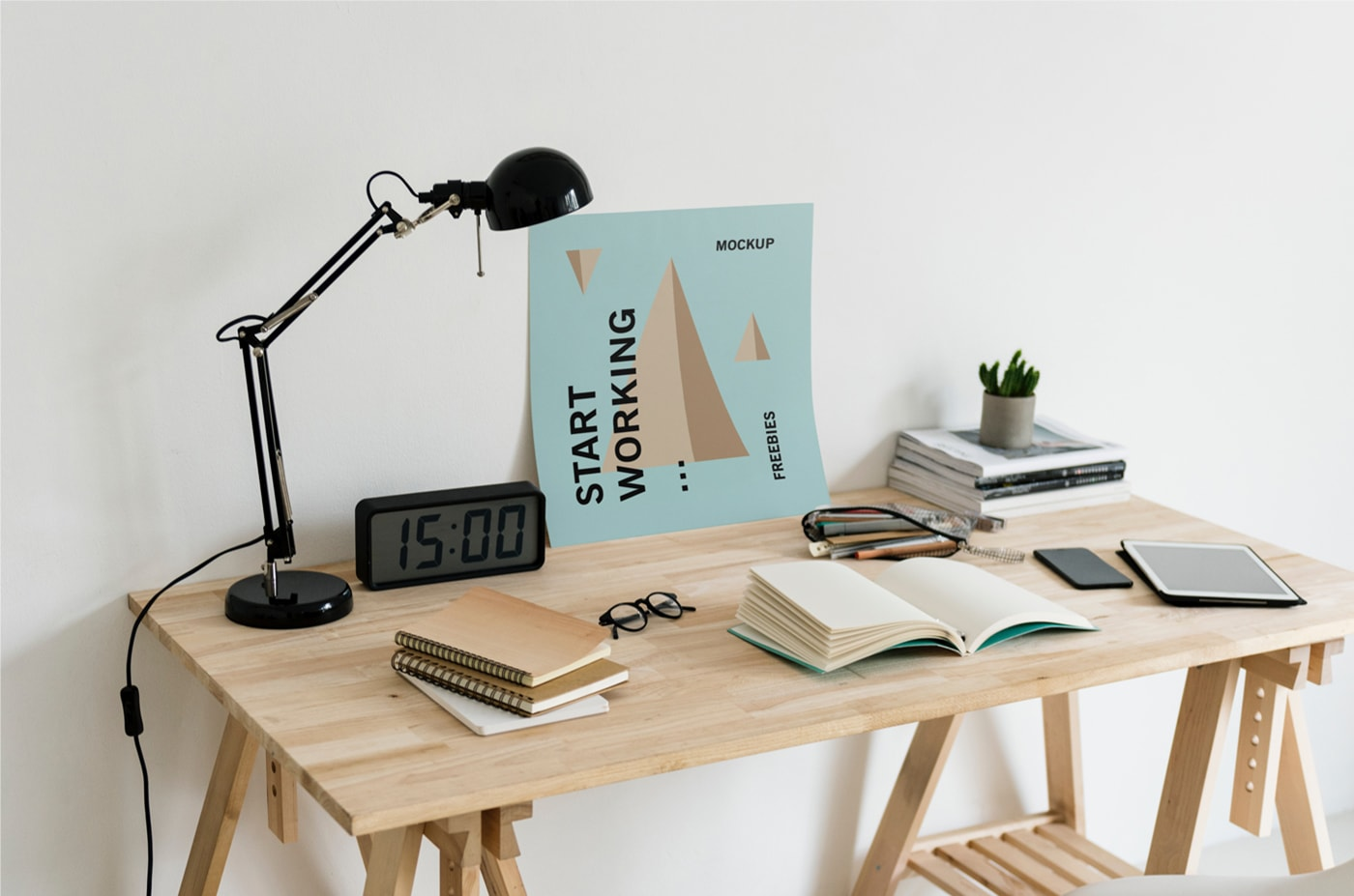 Poster on Workplace Free PSD Mockup