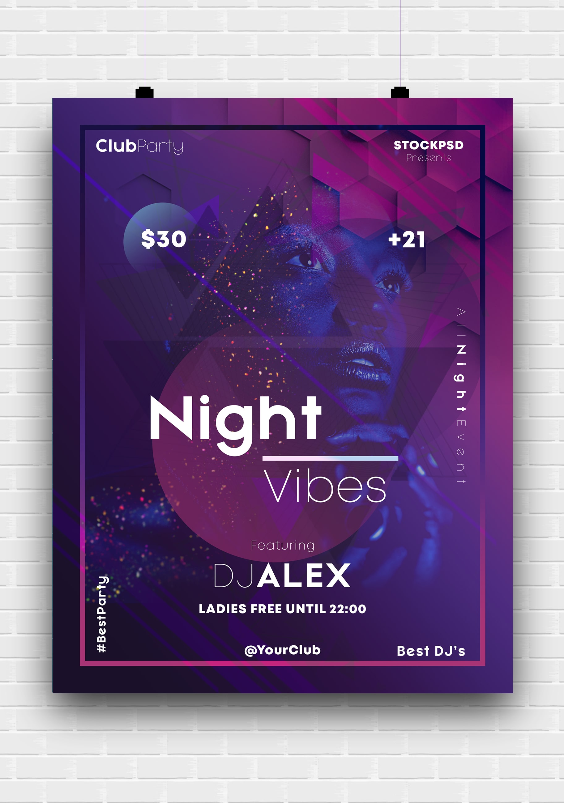 Night Vibes Free PSD Poster Template