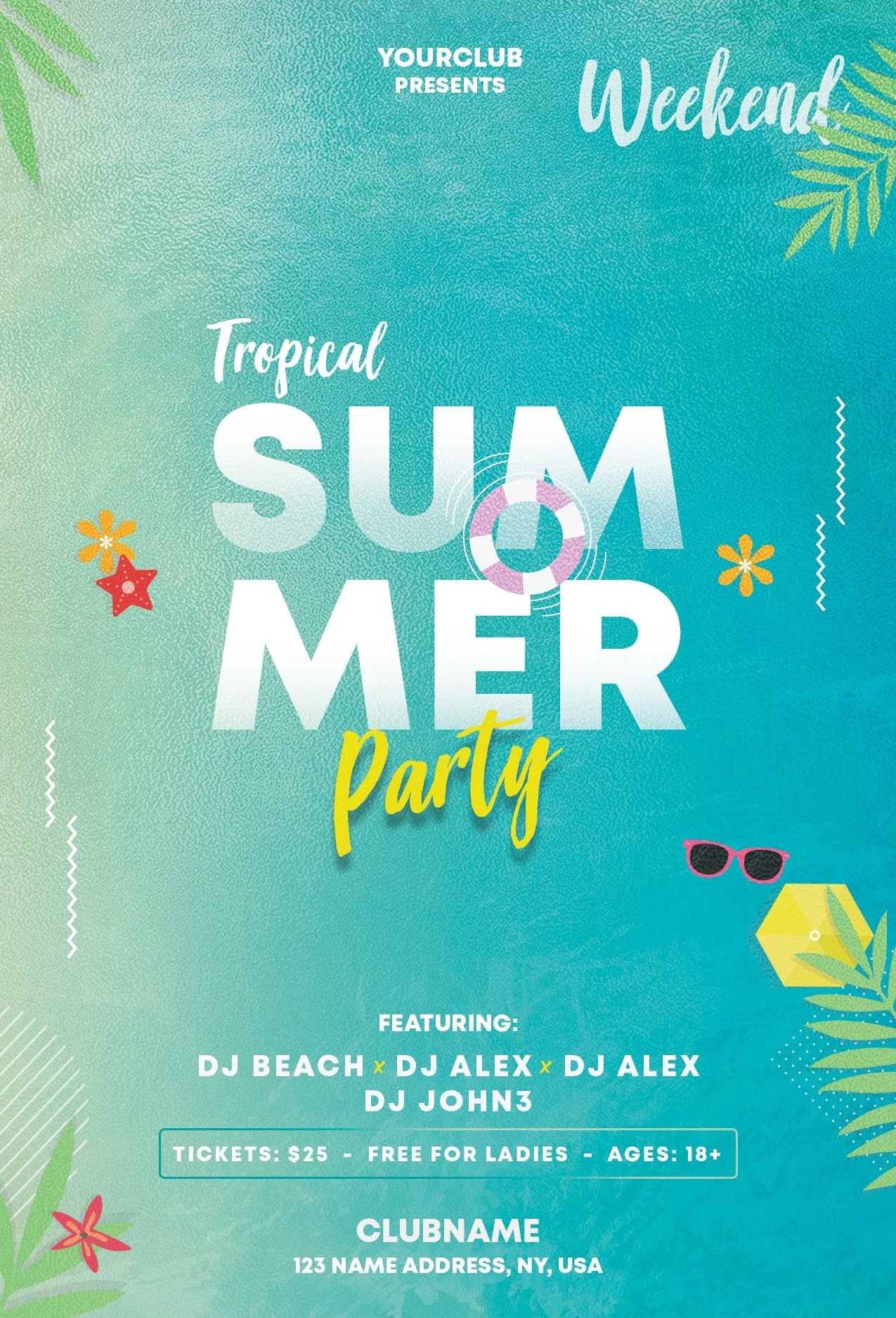 Summer & Tropical Free PSD Flyer Template