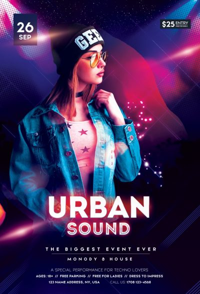 Urban Sound Event Free PSD Flyer Template