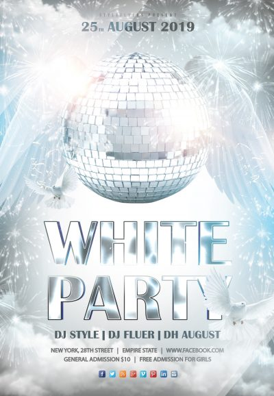 White Party #3 Free PSD Flyer Template