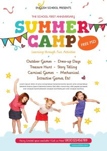 Kids Summer Camp Party Free PSD Flyer Template