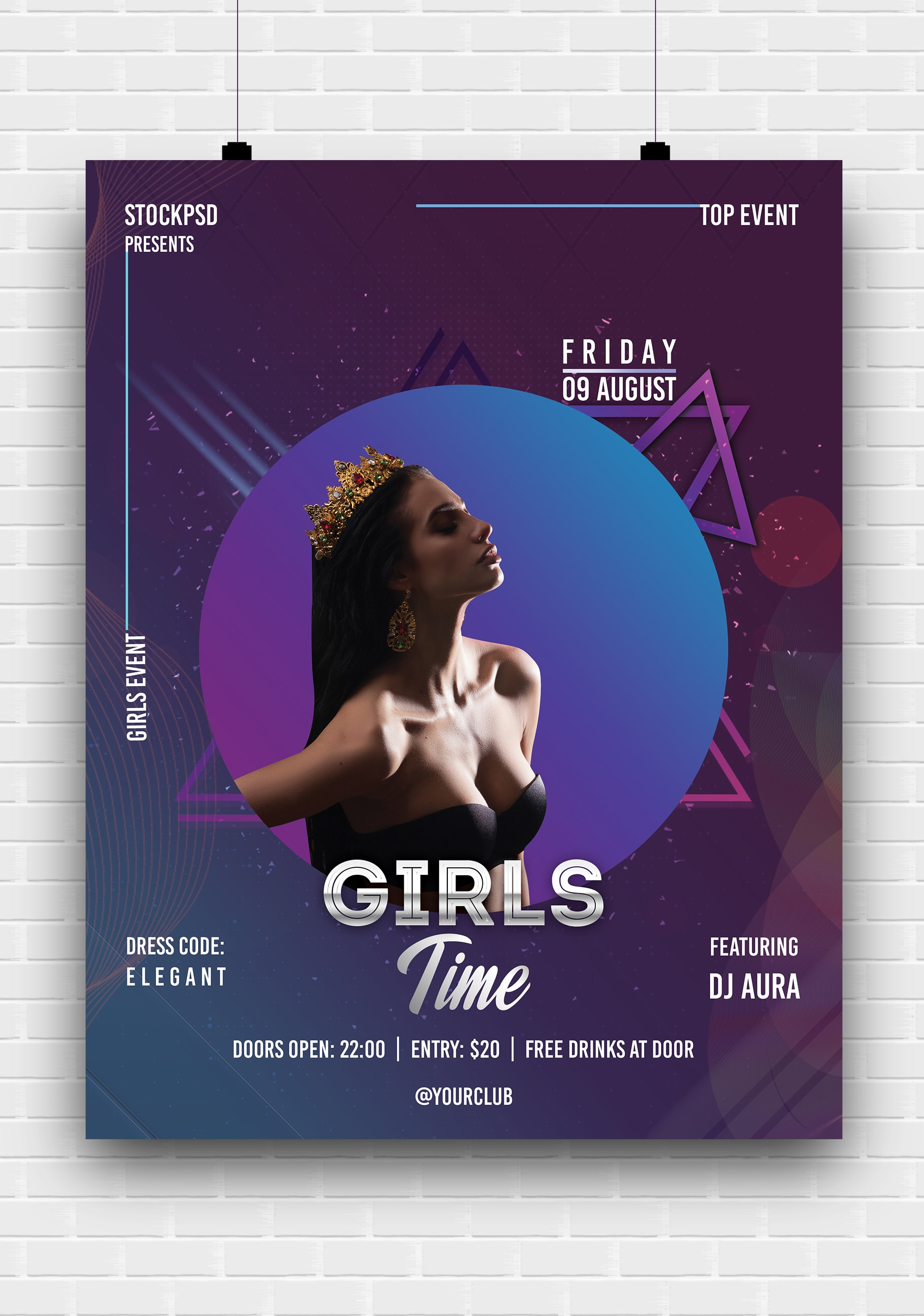 Girls Time Party Free PSD Poster Template