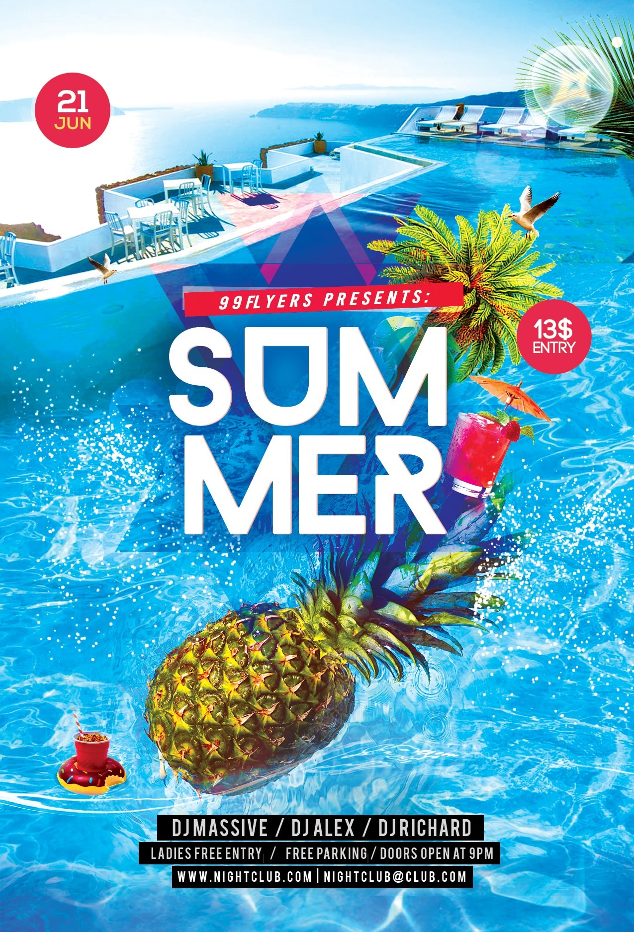 Summer Splash Party Free PSD Flyer Template