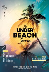 Summer & Tropical Party Free PSD Flyer Template